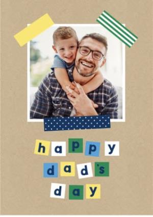 Greeting Cards - Happy Dads Day Patterned Tape Photo Upload Card - Image 1