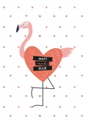 Greeting Cards - Amore Flamingo Love Personalised Card - Image 1