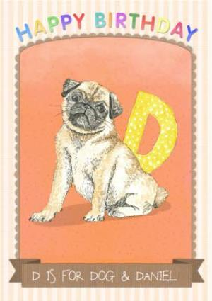 Greeting Cards - Alphabet Animal Antics D Is For Dog Personalised Happy Birthday Card - Image 1