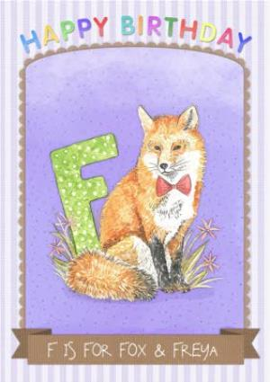 Greeting Cards - Alphabet Animal Antics F Is For Personalised Happy Birthday Card - Image 1