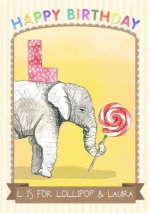 Greeting Cards - Alphabet Animal Antics L Is For Personalised Happy Birthday Card For Kids - Image 1