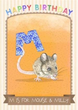 Greeting Cards - Alphabet Animal Antics M Is For Personalised Happy Birthday Card - Image 1