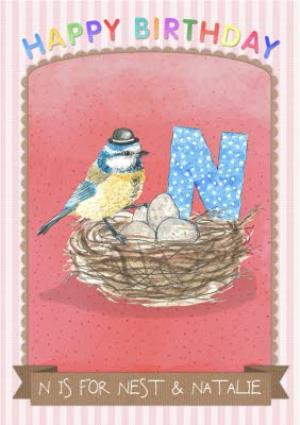 Greeting Cards - Alphabet Animal Antics N Is For Personalised Happy Birthday Card For Kids - Image 1