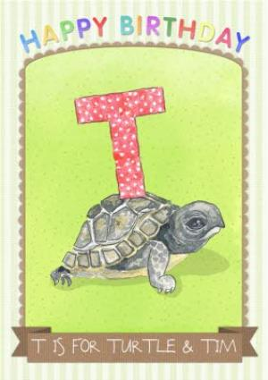 Greeting Cards - Pinstriped T Is For Turtle Personalised Birthday Card - Image 1