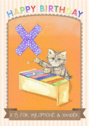 Greeting Cards - Alphabet Animal Antics X Is For Personalised Happy Birthday Card - Image 1
