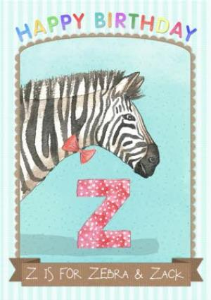 Greeting Cards - Alphabet Animal Antics Z Is For Personalised Happy Birthday Card For Kids - Image 1