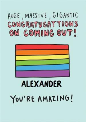 Greeting Cards - Congratulations on Coming out Card - Pride flag - Image 1