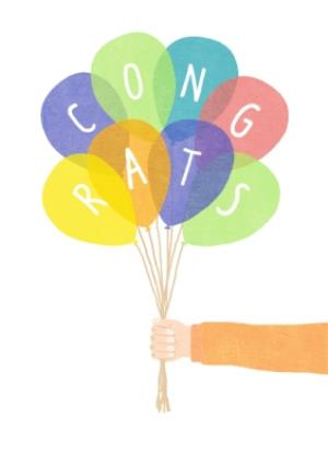 Greeting Cards - Balloons Congrats Personalised Birthday Card - Image 1