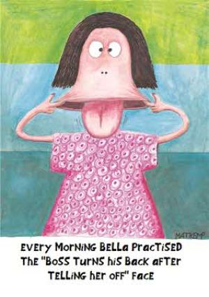 Greeting Cards - Boss Turned His Back After Telling Her Off Funny Personalised Funny Card - Image 1