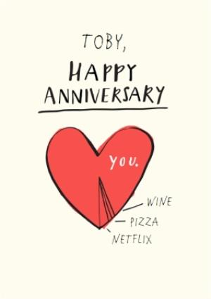 Greeting Cards - Anniversary Card - Love Heart - Wine - Pizza - Netflix - Image 1