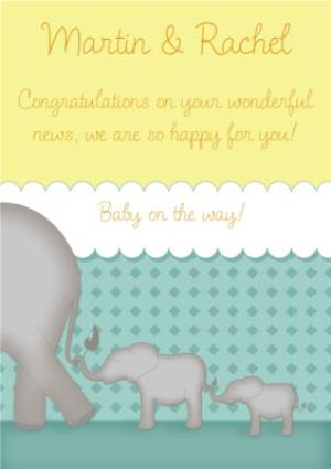 Greeting Cards - Elephants In A Line Personalised You're Expecting Card - Image 1