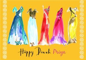Greeting Cards - Bright Watercolour Dresses Personalised Happy Diwali Card - Image 1