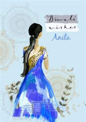 Greeting Cards - Blue Dress And Patterns Personalised Happy Diwali Card - Image 1