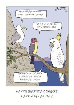 Greeting Cards - Bird Chatter Cartoon Card - Image 1