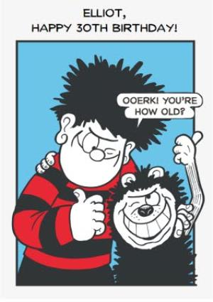 Greeting Cards - Beano Dennis The Menace Birthday Personalised Card - Image 1