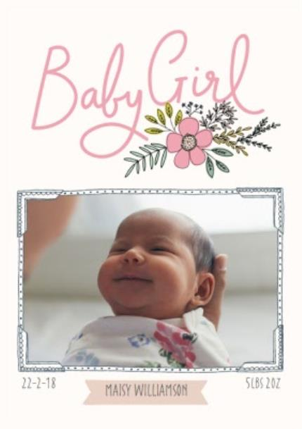 Greeting Cards - Bees Knees Baby Girl Pink Flower Photo Upload Card - Image 1