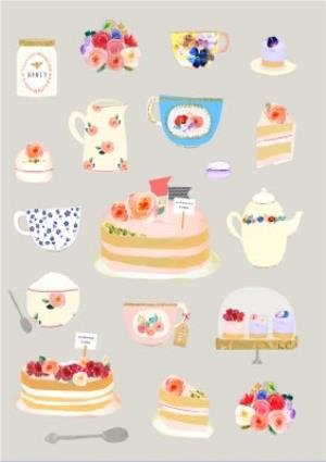Greeting Cards - Bright Flowers, Tea, And Cakes Illustration Card - Image 1