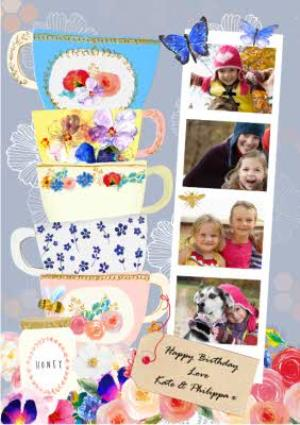 Greeting Cards - Bright Colours And Gorgeous Printed Tea Cups Personalised Photo Card - Image 1