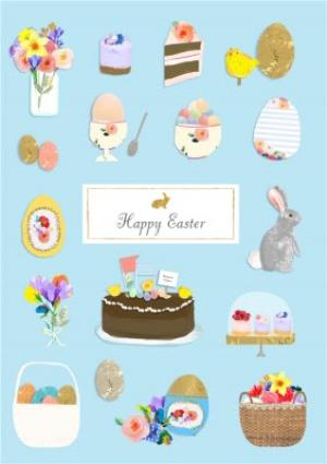 Greeting Cards - Easter Objects Personalised Happy Easter Card - Image 1