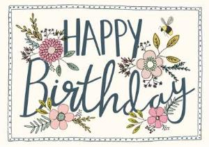 Greeting Cards - Birthday Card - Flowers and Bees - Image 1