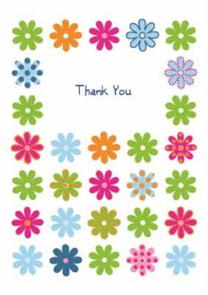 Greeting Cards - Colourful Flower Heads Personalised Thank You Card - Image 1