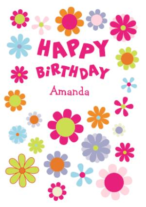 Greeting Cards - Bright Flowers Personalised Happy Birthday Card - Image 1