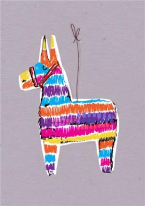 Greeting Cards - Rainbow Pinata Donkey Personalised Card - Image 1