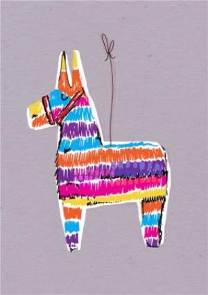 Greeting Cards - Rainbow Pinata Donkey Personalised Card - Image 1
