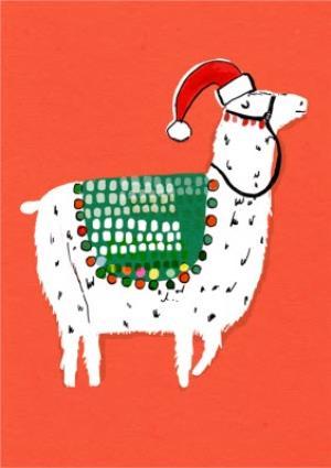 Greeting Cards - Festive Alpaca Personalised Christmas Card - Image 1