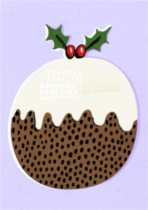 Greeting Cards - Bright Lilac Christmas Pudding Card - Image 1