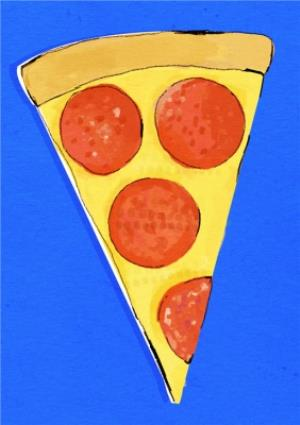 Greeting Cards - Big Slice Of Pizza On Blue Background Card - Image 1