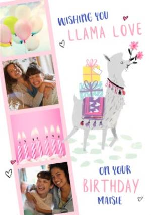 Greeting Cards - Cute Llama Love Photo Upload Birthday Card  - Image 1