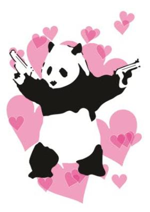 Greeting Cards - Banksy Graffiti Panda With Guns Personalised Greetings Card - Image 1