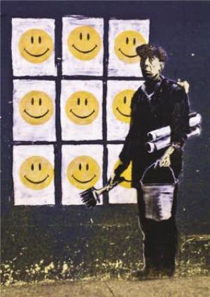 Greeting Cards - Banksy Graffiti Smiley Faces Personalised Greetings Card - Image 1