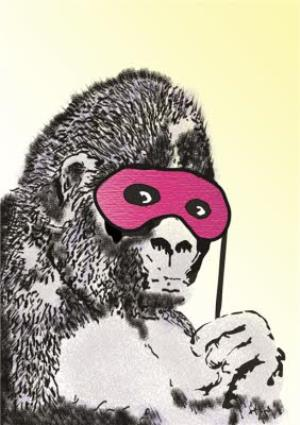 Greeting Cards - Banksy Gorilla With Mask Graffiti Personalised Greetings Card - Image 1