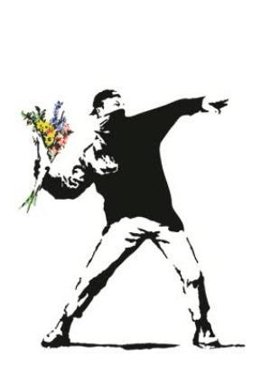 Greeting Cards - Banksy Graffiti Protestor Throwing Flowers Personalised Greetings Card - Image 1