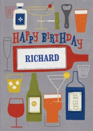 Greeting Cards - Cheers Drinks With Name Personalised Happy Birthday Card - Image 1