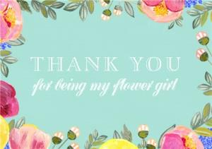 Greeting Cards - Botanic Border Personalised Thank You For Being My Flower Girl Card - Image 1