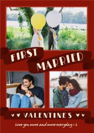 Greeting Cards - First Married Valentine's Day Multi-Photo Upload Card - Image 1