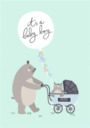 Greeting Cards - Bear Necessities Its A Boy Personalised Text Card - Image 1