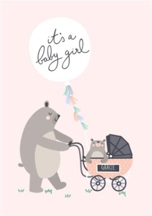 Greeting Cards - Bear Necessities Its A Girl Personalised Text Card - Image 1