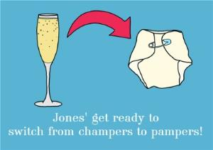 Greeting Cards - Personalised Name Get Ready To Switch From Champers To Pampers New Baby Card - Image 1
