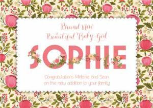 Greeting Cards - Bundle Of Joy Personalised Floral Background Personalised Card For New Baby Girl - Image 1