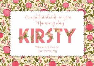 Greeting Cards - Pink And Green Personalised Congratulations On Your Naming Day Card - Image 1