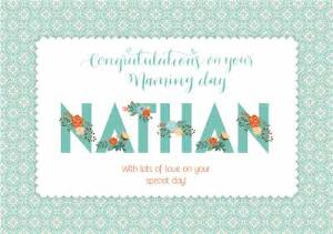 Greeting Cards - Floral Print Congratulations On Your Naming Day Personalised Card - Image 1