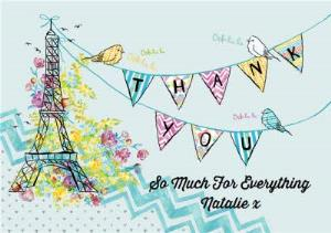 Greeting Cards - Eiffel Tower And Bunting Personalised Thank You Card - Image 1