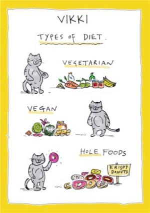 Greeting Cards - Birthday Card - Types of Diet - Cats- Illustration - Image 1