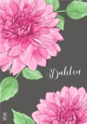 Greeting Cards - Bright Pink Dahlia Flower Personalised Card - Image 1