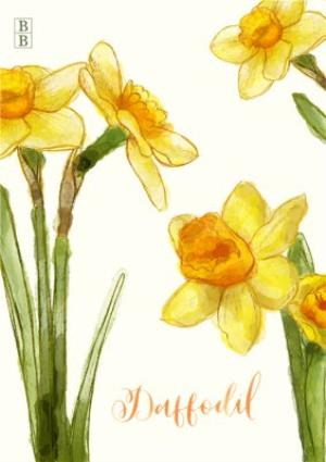 Greeting Cards - Bright Yellow Daffodil Flowers Personalised Card - Image 1