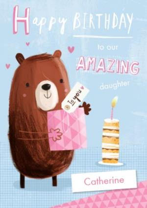 Greeting Cards - Cartoon Bear Happy Birthday To Our Amazing Daughter Personalised Card - Image 1